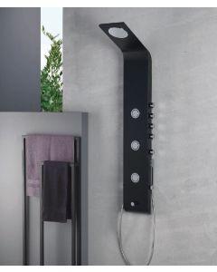 Στήλη Ντους -Υδρομασάζ  4 Εξόδων Θερμομικτική, Μασίφ Αλουμίνιο, Μαύρο Ματ -Χρώμιο Icos Lete-400 Black