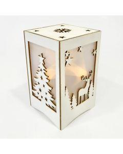 Φαναράκι Ξύλινο 10*10*16,5 εκ. με Χριστουγεννιάτικα σχέδια Φωτιζόμενο 5 Led Warm White  Θερμό Λευκό Merry Christmas 600-40184