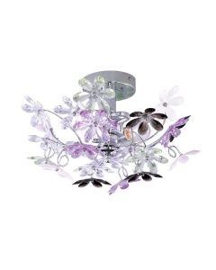 Φωτιστικό Επίτοιχο /Οροφής  Ø38 εκ. Δίφωτο Μέταλλο Χρωμέ / Ακρυλικό Πολύχρωμο Trio Flower R20012017