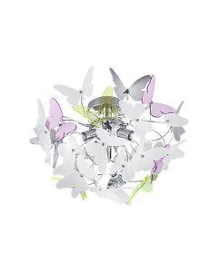 Φωτιστικό Οροφής  Ø45 εκ. Τρίφωτο  Μέταλλο Χρωμέ / Ακρυλικό Πολύχρωμο Trio Butterfly R60213017
