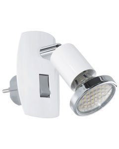 Φωτιστικό Πρίζας με διακόπτη Spot Led 3w Warm White 240lm Λευκό -Χρωμέ Eglo Mini 4 92925
