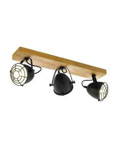 Φωτιστικό Σποτ Επίτοιχο/Οροφής Τρίφωτο σε ράγα  59εκ. Φυσικό Ξύλο -Μαύρο Eglo Gatebeck 49078