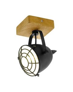 Φωτιστικό Vintage Σποτ Επίτοιχο/Οροφής Φυσικό Ξύλο -Μαύρο Eglo Gatebeck 49076