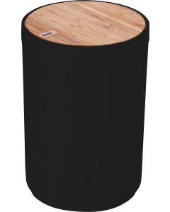 Χαρτοδοχείο 5lt Ø18 cm  Πλαστικό Μαύρο Γυαλιστερό με καπάκι παλλόμενο Bamboo Ecocasa 02-3876
